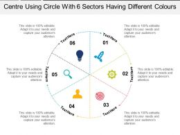 Centre Using Circle With 6 Sectors Having Different Colours