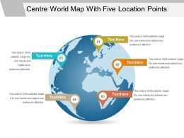 Centre World Map With Five Location Points