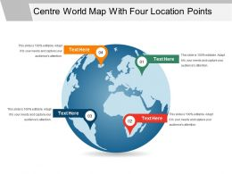 Centre World Map With Four Location Points