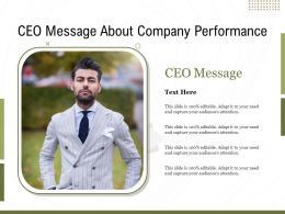 CEO Message About Company Performance