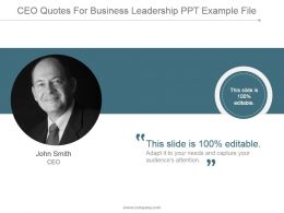 Ceo Quotes For Business Leadership Ppt Example File