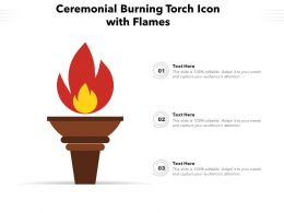 Ceremonial Burning Torch Icon With Flames