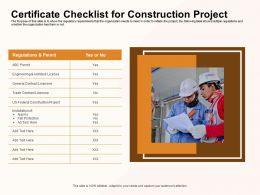 Certificate Checklist For Construction Project Alarms Ppt Powerpoint Presentation Visual Aids Model