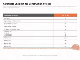 Certificate Checklist For Construction Project Federal Ppt Powerpoint Presentation Infographics Slide