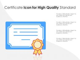 Certificate Icon For High Quality Standard