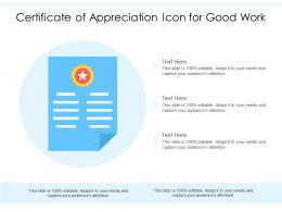 Certificate Of Appreciation Icon For Good Work