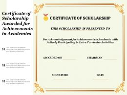 Certificate Of Scholarship Awarded For Achievements In Academics