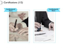 Certifications Agenda Ppt Powerpoint Presentation Outline Design Inspiration