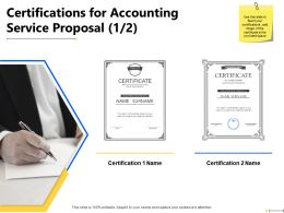 Certifications For Accounting Service Proposal Appreciation Ppt Powerpoint Presentation Slides