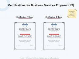 Certifications For Business Services Proposal Ppt Powerpoint Presentation Pictures