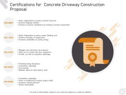 Certifications For Concrete Driveway Construction Proposal Ppt Powerpoint Presentation Deck