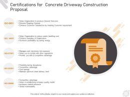 Certifications For Concrete Driveway Construction Proposal Ppt Powerpoint Presentation Deck