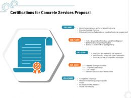 Certifications For Concrete Services Proposal Ppt Powerpoint Presentation Ideas Icons