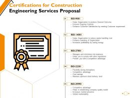 Certifications For Construction Engineering Services Proposal Ppt Powerpoint Presentation Pictures Microsoft