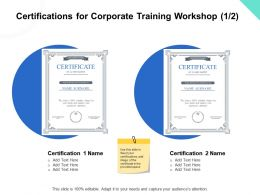 Certifications For Corporate Training Workshop Ppt Powerpoint Presentation Slides