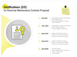 Certifications For Electrical Maintenance Contract Proposal Ppt Powerpoint Samples