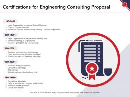 Certifications For Engineering Consulting Proposal Ppt Powerpoint Presentation Summary Grid