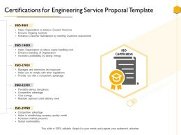 Certifications For Engineering Service Proposal Template Ppt Powerpoint Presentation Influencers