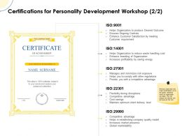 Certifications For Personality Development Workshop Ppt Powerpoint Slide Clipart