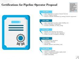 Certifications For Pipeline Operator Proposal Ppt Powerpoint Presentation Visual Aids Slides