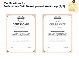Certifications For Professional Skill Development Workshop Appreciation Ppt Powerpoint Presentation Example