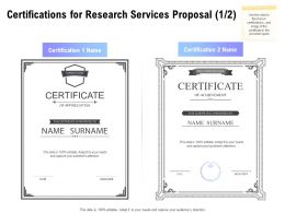 Certifications For Research Services Proposal Winner Ppt Powerpoint Skills