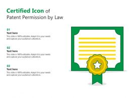 Certified Icon Of Patent Permission By Law
