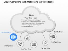 cf Cloud Computing With Mobile And Wireless Icons Powerpoint Template