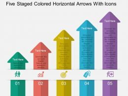 Cf Five Staged Colored Horizontal Arrows With Icons Flat Powerpoint Design