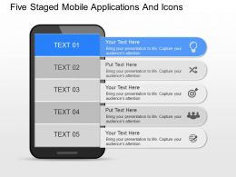 cf Five Staged Mobile Applications And Icons Powerpoint Template