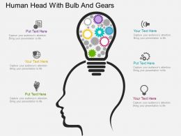 cf Human Head With Bulb And Gears Flat Powerpoint Design