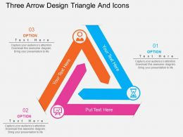 cf Three Arrow Design Triangle And Icons Flat Powerpoint Design
