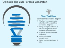 Cfl Inside The Bulb For Idea Generation Flat Powerpoint Design
