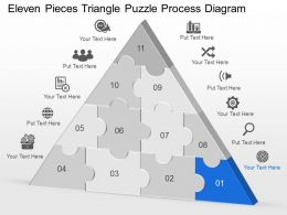 Cg Eleven Pieces Triangle Puzzle Process Diagram Powerpoint Template