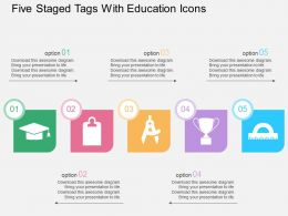 Cg Five Staged Tags With Education Icons Flat Powerpoint Design