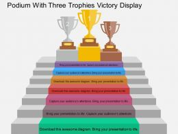 cg Podium With Three Trophies Victory Display Flat Powerpoint Design