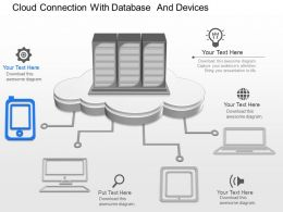 ch Cloud Connection With Database And Devices Powerpoint Template