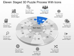 Ch Eleven Staged 3d Puzzle Process With Icons Powerpoint Template