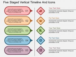Ch Five Staged Vertical Timeline And Icons Flat Powerpoint Design