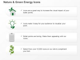 Ch Four Energy Icons Bulb Home Dustbin And Plant Ppt Icons Graphics
