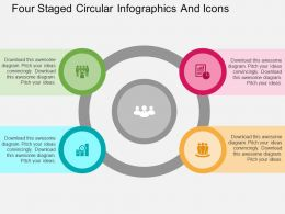 Ch Four Staged Circular Infographics And Icons Flat Powerpoint Design