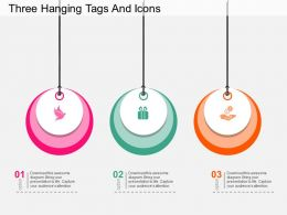 ch Three Hanging Tags And Icons Flat Powerpoint Design