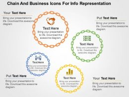 Chain And Business Icons For Info Representation Flat Powerpoint Design