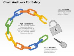 Chain And Lock For Safety Flat Powerpoint Design