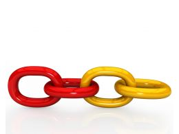 Chain Made Of Red And Yellow Links Stock Photo