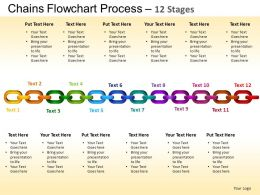 Chains Flowchart Process Diagram 12 Stages Style 1 ppt Templates 0412