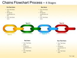 Chains Flowchart Process Diagram 4 Stages Style 1 ppt Templates 0412