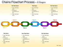 Chains Flowchart Process Diagram 6 Stages Style 1 ppt Templates 0412