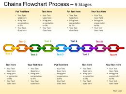 Chains Flowchart Process Diagram 9 Stages Style 1 ppt Templates 0412
