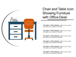 Chair And Table Icon Showing Furniture With Office Desk